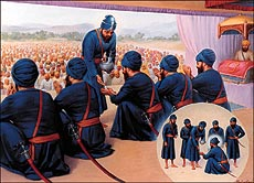 The creation of the Khalsa (Painting by Mehar Singh)