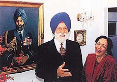 Celebrating together: Marshal of the Indian Air Force Arjan Singh with his wife, Teji