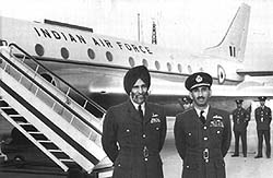 Marshal of the Indian Air Force Arjan Singh (left) in front of an IAF plane