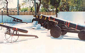 Some of the antique guns at Barki-Sehjra Hall, Ferozepore.