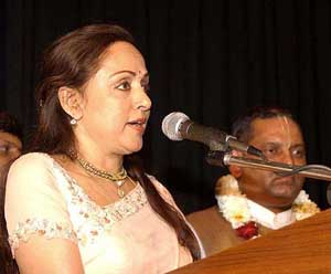 Veteran Bollywood actress Hema Malini addresses the gathering