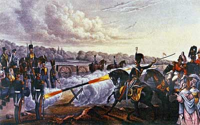 Rockets in use in a war and (below) Tipu Sultan