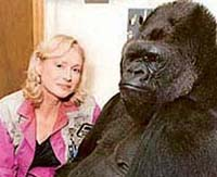 'Penny' Patterson with Koko