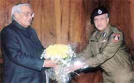 Delhi Police Commissioner K. K. Paul calls on Prime Minister Atal Behari Vajpayee after taking charge of the police