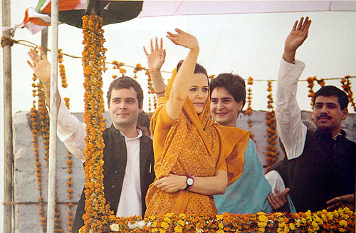 Rahul and Priyanka flank their mother during the election campaign.