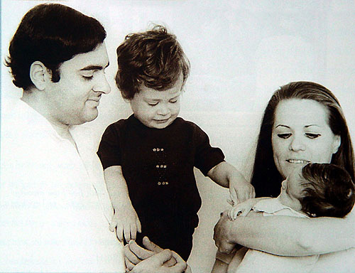 Sonia and Rajiv with their children in happier times.