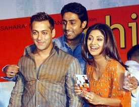 Bolywood stars Abhishek Bachchan, Salman Khan and Shilpa Shetty at the music launch of Phir Milenge