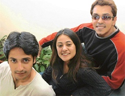 From left: Imran Khan, Mona Wasu and Ajay, star cast of a forthcoming TV serial, Miilee, in Chandigarh on Tuesday.