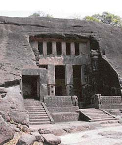 A view of the Kanheri caves, Bombay