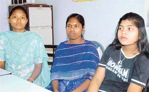 Radha (extreme right) and two others were trafficked from Jharkhand and Chhattisgarh and brought to the North