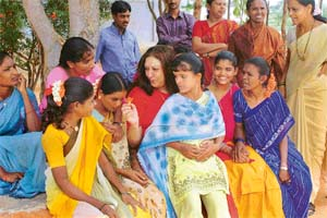 Hema Bedi with some of the rescued girls and co-workers of Sthree