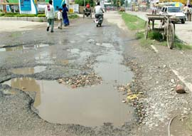 Roads are poorly maintined in many of the Indian towns