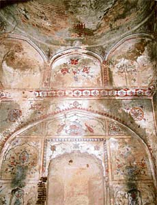 Invaluable frescos in one of the ancient buildings at Jalalabad, which was founded by Mughal Emperor Akbar
