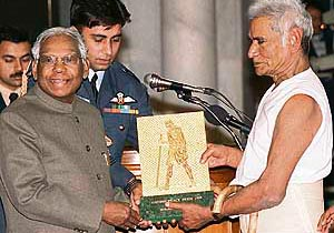 Receiving the Gandhi Peace Prize for 1999 from the then President K.R. Narayanan.
