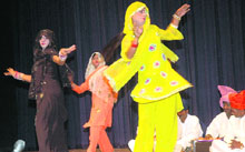 "Shyamuddin and party presents ""Puranmal"" at the Saang festival held in Panchkula on Thursday."