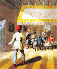 An English family at dinner under a hanging punkah. Drawing by Sir Charles D'oyly c. 1810