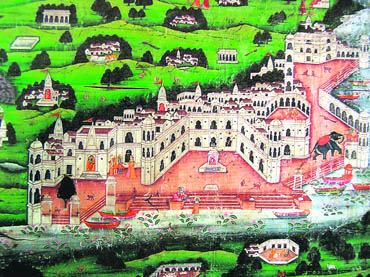 Detail from a painted Vraja Yatra pata. 20th century; The Tapi