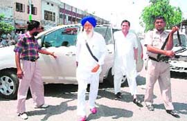 Congress candidate Sukhdev Singh Libra on a visit to Payal