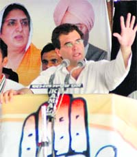 General secretary, AICC, Rahul Gandhi addresses a rally in Barnala