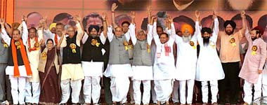 SHOW OF STRENGTH: NDA leaders during a rally in Ludhiana