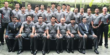 ALL THE BEST  Team India poses for a group picture before leaving for    Zaheer Khan House Photos