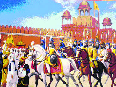 When the Sikhs surrounded the fort, the Emperor and his guards hid themselves