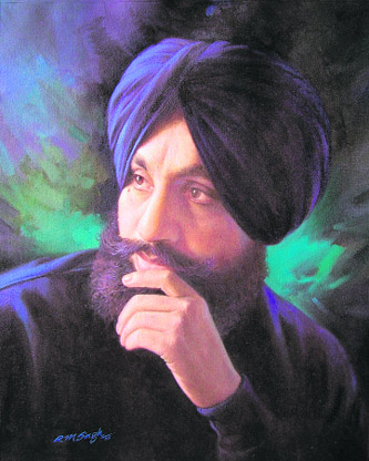 Self-portrait --painting by R M Singh