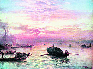 Sunrise on the Sea. Painting by S. G. Thakur Singh. 1929