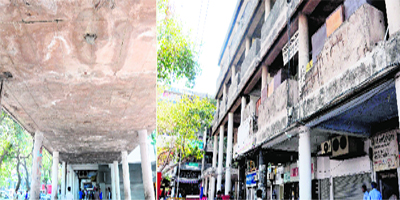 (Left) The spalling of the concrete cover of the columns of connecting passages of a building; and the vagaries of weather and absence of maintenance have taken a toll on another architectural heritage building, resulting in the cracking of certain parapets, in Sector 17-D of Chandigarh.