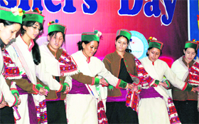 Girls participate in a freshers' party of Tribal Hostel at the RKMV ...