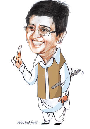 Kiran Bedi, a caricature by Sandeep Joshi