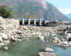 A dried riverbed of the Bhagirathi downstream in Uttarkashi district
