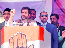 Congress general secretary Rahul Gandhi addresses an election meeting at Pithoragarh on Tuesday