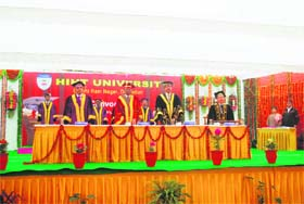 Dignitaries at the first convocation of the Himalayan Institute Hospital Trust near Dehradun