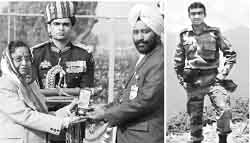 Lt Navdeep Singh (right) and the Ashok Chakra awarded to him posthumously being received by his father, Hony Lt Joginder Singh from the President on Republic Day