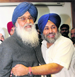 Sukhbir hugs his father Parkash Singh Badal after the latter was elected leader of the SAD-BJP alliance.