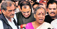 Governor Margaret Alva speaks after Congress leaders along with four Independent MLAs met her.
