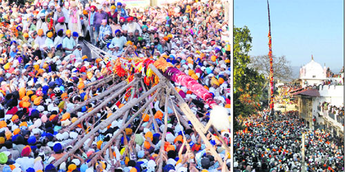 A large number of devotees thronged Guru Ram Rai Darbar on the occasion of the hoisting of Jhanda Sahib in Dehradun on Monday.