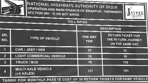 A chart displays toll rates for vehicles.