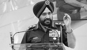 Army Chief General Bikram Singh at an ex-servicemen's rally in Pathankot on Sunday.