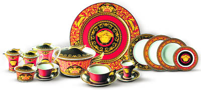 The dinnerware in vibrant tones of red pink and lilac is embellished by Versace\u0027s classic geometric motifs in deep shades set off by a precious ...  sc 1 st  The Tribune & The Tribune Chandigarh India - Jobs \u0026 Careers