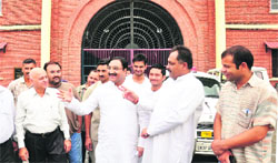 Former CM Ramesh Pokhriyal Nishank, along with other BJP leaders, comes out of the Suddhowala jail after meeting Balkrishan in Dehradun on Saturday. A Tribune photograph