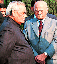 A file photo of Brajesh Mishra with then Prime Minister AB Vajpayee