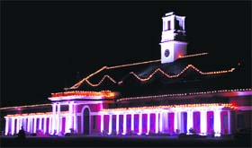 The illuminated building of Indian Military Academy in Dehradun on Monday