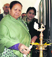 Governor Urmila Singh inaugurates the exhibition in McLeodganj.