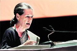 "Sonia Gandhi addresses the party's ""Chintan Shivir"" in Jaipur"