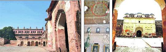 Encircled in red) decorative mirrors have fallen off the roof and an outer view of the structure.