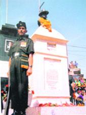 The memorial of Victoria Cross winner Gabbar Singh Negi at Chamba in Tehri Garhwal district.