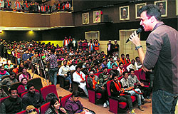 Singer and Shiv Sena's national working member Abhijeet Sawant enthrals a gathering at a function in Dehradun on Wednesday