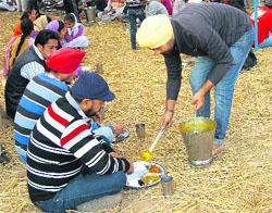 A devotee serves langar to devotees at Fatehgarh Sahib gurdwara on Wednesday.